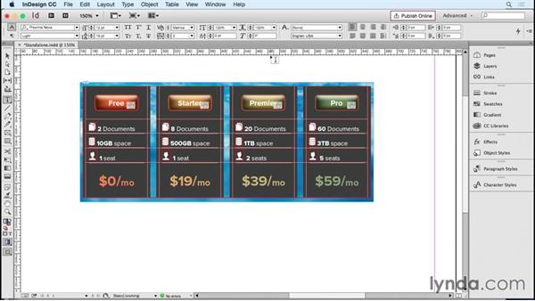 Setting up standalone columns: InDesign Tables in Depth