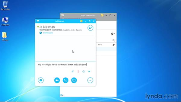 Using instant messaging: Up and Running with Skype for Business