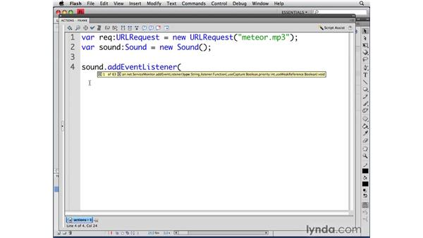 Loading sound : ActionScript 3.0 in Flash CS4 Professional for Designers