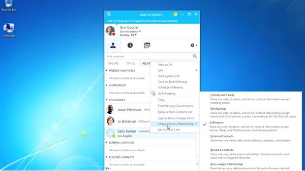 Setting privacy relationships: Up and Running with Skype for Business