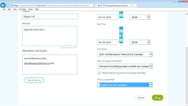 Scheduling a meeting with the Web Scheduler: Up and Running with Skype for Business