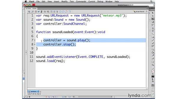 Stopping sound: ActionScript 3.0 in Flash CS4 Professional for Designers