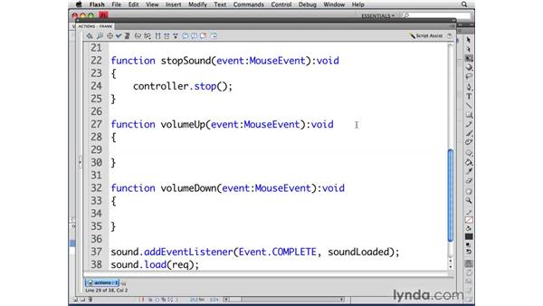 Controlling volume: ActionScript 3.0 in Flash CS4 Professional for Designers