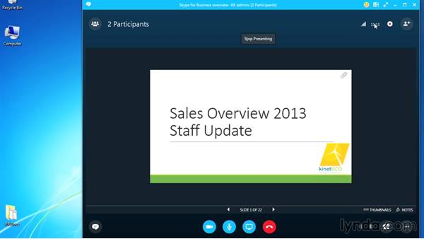 Recording a meeting: Up and Running with Skype for Business