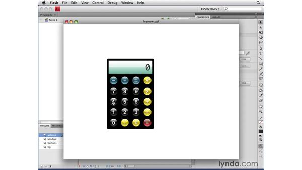 Previewing the Calculator application: ActionScript 3.0 in Flash CS4 Professional for Designers