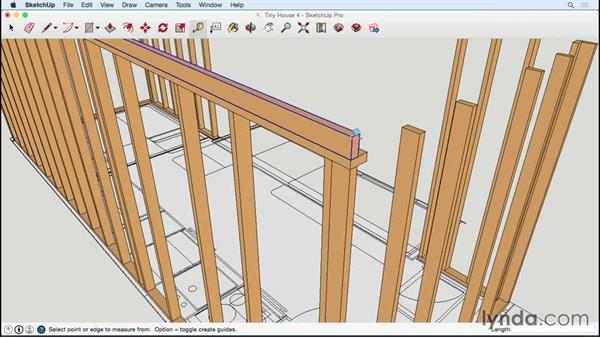 Building the top plate on the long wall: Designing a Tiny House with SketchUp