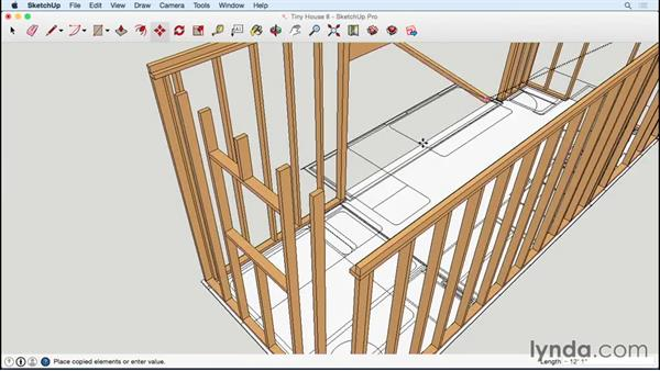 Framing the end wall and laying out rafters: Designing a Tiny House with SketchUp