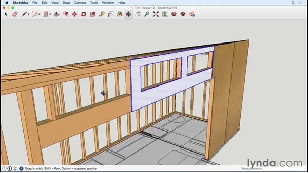 Adding plywood around clerestory window openings: Designing a Tiny House with SketchUp