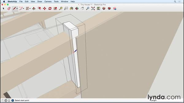 Sheathing the end wall with the door: Designing a Tiny House with SketchUp