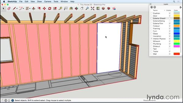 Adding interior plywood: Designing a Tiny House with SketchUp