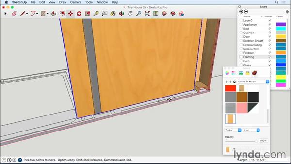 Sheathing the interior of the window wall: Designing a Tiny House with SketchUp