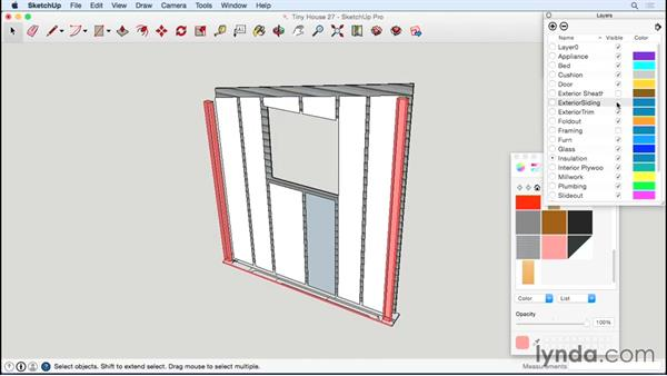Detailing the opposite end wall: Designing a Tiny House with SketchUp