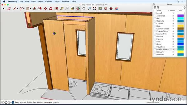 Modeling the toilet room and its door: Designing a Tiny House with SketchUp