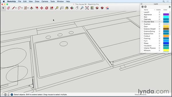 Making a counter and sink: Designing a Tiny House with SketchUp