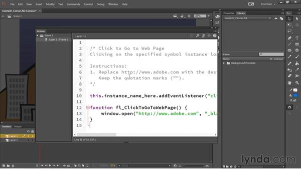 Using code snippets and actions: HTML5 Canvas and WebGL in Flash Professional CC