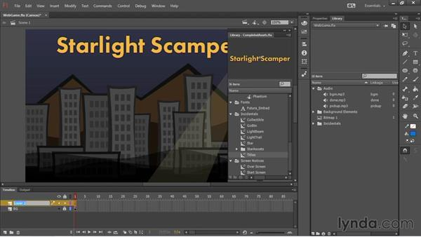 Arranging the game elements: HTML5 Canvas and WebGL in Flash Professional CC