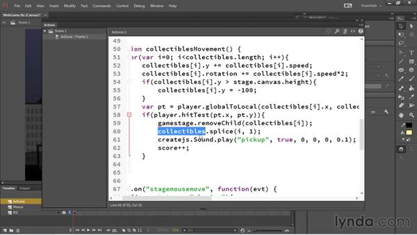 Scorekeeping and collision detection: HTML5 Canvas and WebGL in Flash Professional CC