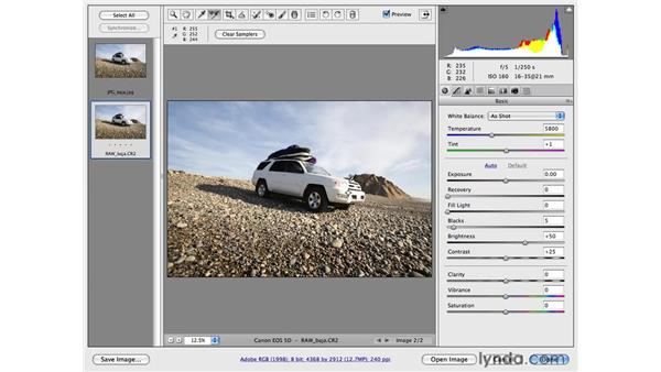 Comparing RAW, JPG, and TIFF files: Photoshop CS4 for Photographers: Camera Raw