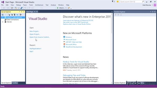 First look at the integrated development environment (IDE): Visual Studio 2015 Essentials 01: Exploring the Visual Studio Ecosystem