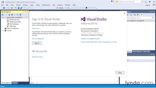 Logins and Microsoft accounts: Visual Studio 2015 Essentials 01: Exploring the Visual Studio Ecosystem