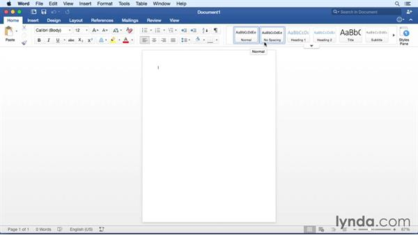 Launching Word and touring the interface: Office 365 for Mac: Word Essential Training