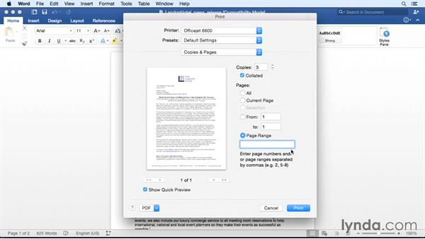 Printing your documents: Office 365 for Mac: Word Essential Training