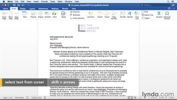 Selecting text with the mouse or keyboard: Office 365 for Mac: Word Essential Training