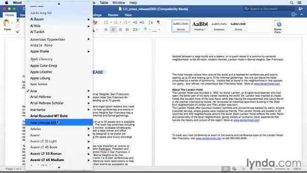 Choosing the right font and font style: Office 365 for Mac: Word Essential Training