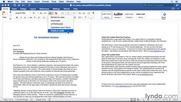 Changing text case: Office 365 for Mac: Word Essential Training