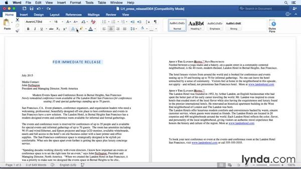 Adding pizzazz with text effects: Office 365 for Mac: Word Essential Training