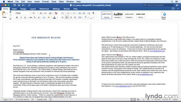 Changing paragraph alignment and justification: Office 365 for Mac: Word Essential Training