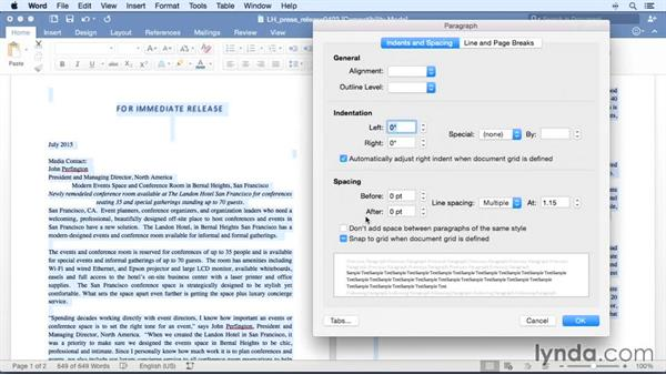 Adjusting line spacing: Office 365 for Mac: Word Essential Training