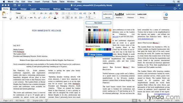 Applying paragraph shading and borders: Office 365 for Mac: Word Essential Training