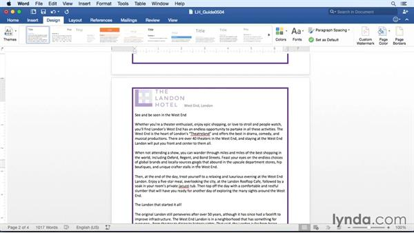 Adding page backgrounds, borders, and watermarks: Office 365 for Mac: Word Essential Training