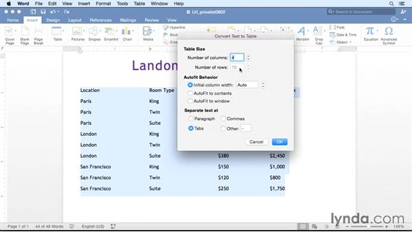Converting existing text to a table: Office 365 for Mac: Word Essential Training