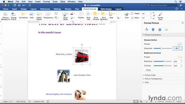Adjusting photos in a document: Office 365 for Mac: Word Essential Training
