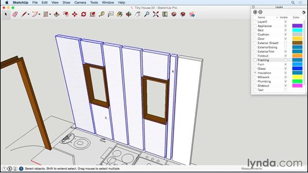 Inserting rigid insulation and windows: Designing a Tiny House with SketchUp