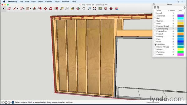 Spacing studs and adding insulation: Designing a Tiny House with SketchUp