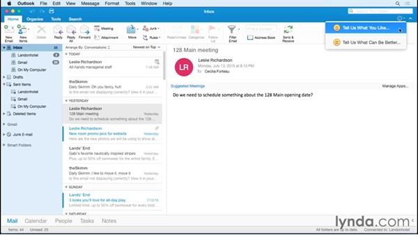 Touring the Outlook interface: Office 365 for Mac: Outlook Essential Training
