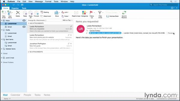 Saving attachments from a message: Office 365 for Mac: Outlook Essential Training