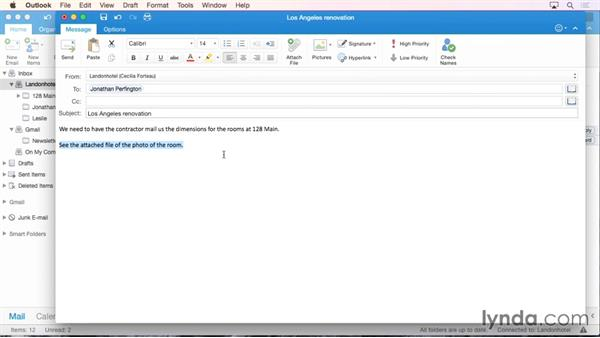Creating and formatting a new message: Office 365 for Mac: Outlook Essential Training