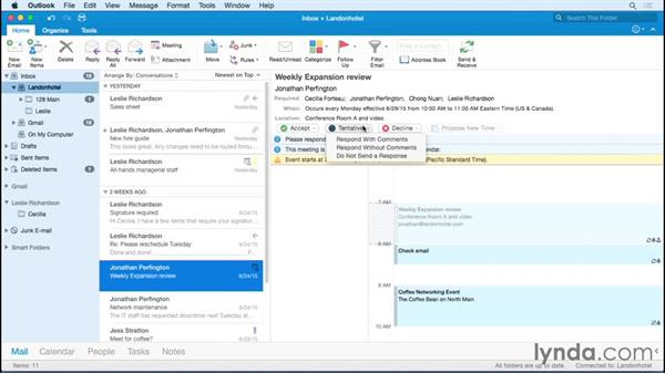 Responding to a meeting invitation: Office 365 for Mac: Outlook Essential Training