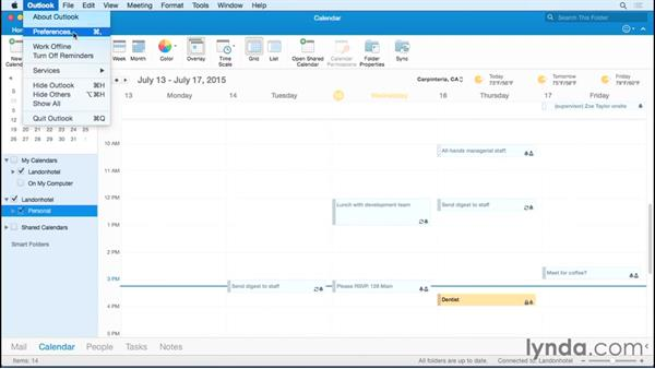 Setting calendar and weather preferences: Office 365 for Mac: Outlook Essential Training