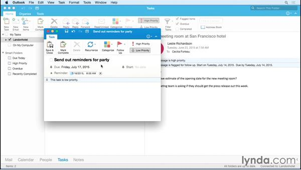 Creating tasks: Office 365 for Mac: Outlook Essential Training
