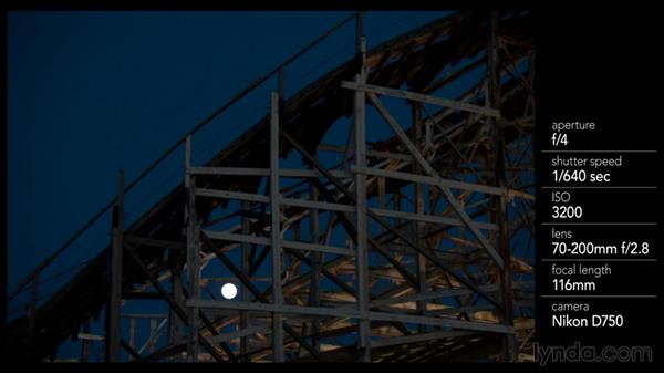 Shooting a ride with the moon in the shot: Shooting a Photo Essay: Coney Island
