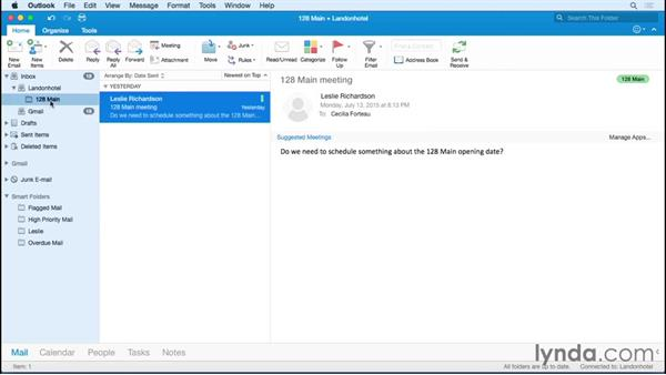Organizing mail into folders: Outlook for Mac 2016 Essential Training