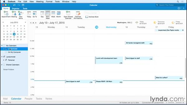 Creating additional calendars: Outlook for Mac 2016 Essential Training