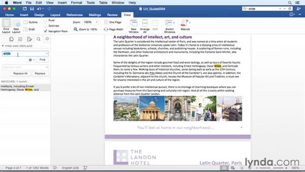 Finding and replacing text: Word for Mac 2016 Essential Training
