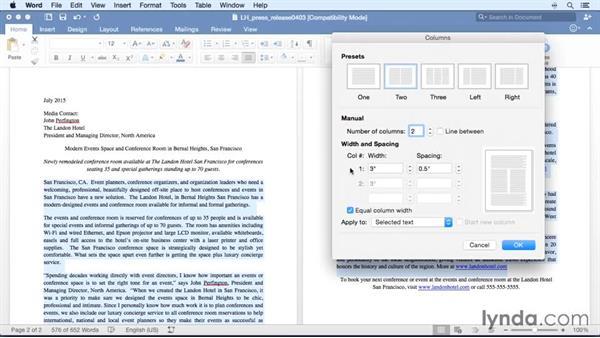 Using columns: Word for Mac 2016 Essential Training