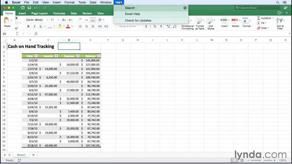 Getting help in Excel: Excel for Mac 2016 Essential Training